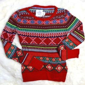 H&M RED PATTERNED SWEATER